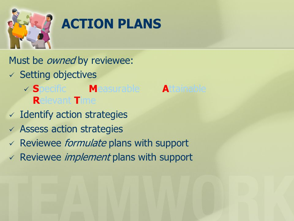 ACTION PLANS Must be owned by reviewee: Setting objectives