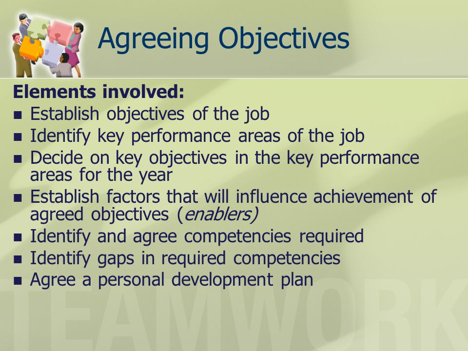Agreeing Objectives Elements involved: Establish objectives of the job