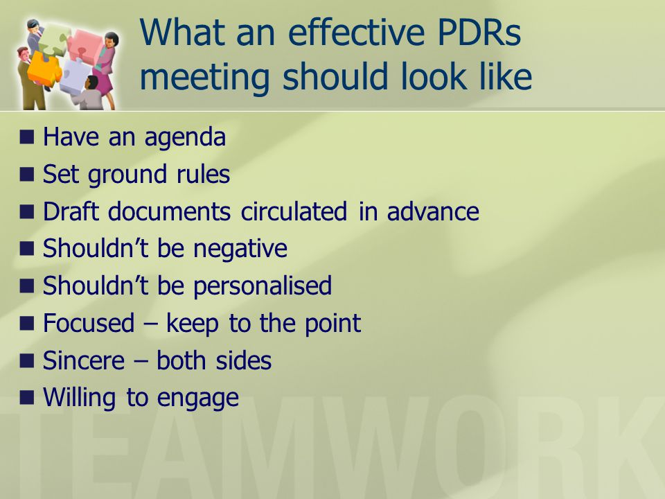 What an effective PDRs meeting should look like