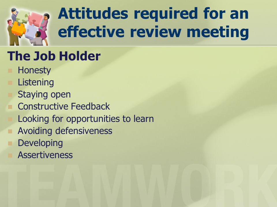 Attitudes required for an effective review meeting