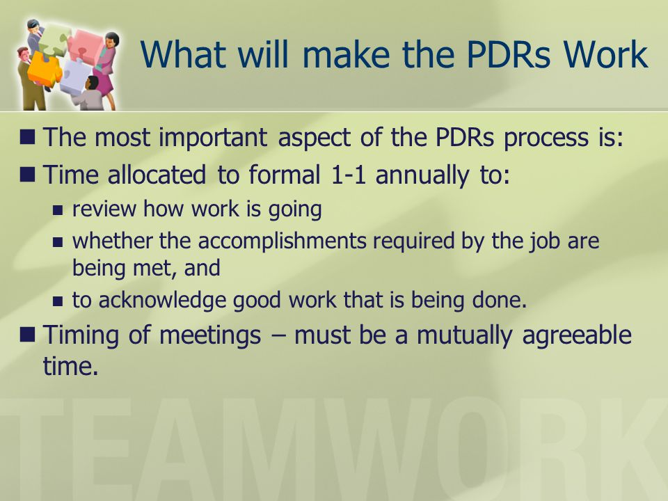 What will make the PDRs Work
