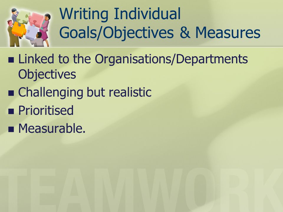 Writing Individual Goals/Objectives & Measures
