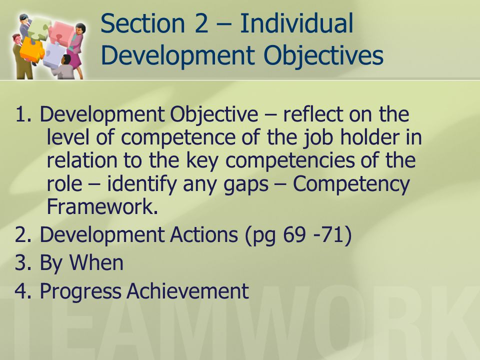 Section 2 – Individual Development Objectives