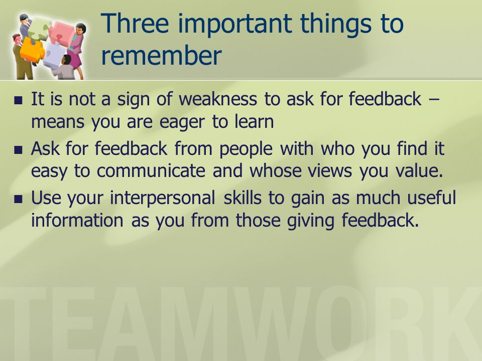 Three important things to remember