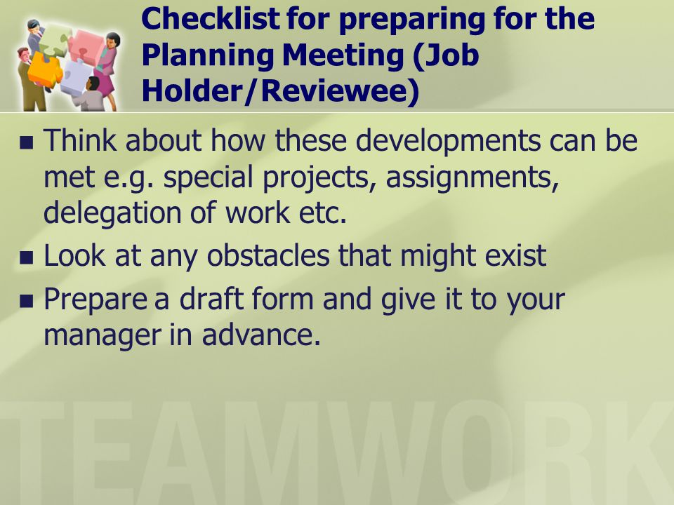 Checklist for preparing for the Planning Meeting (Job Holder/Reviewee)