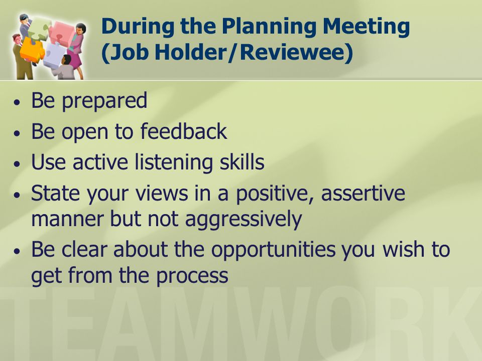 During the Planning Meeting (Job Holder/Reviewee)