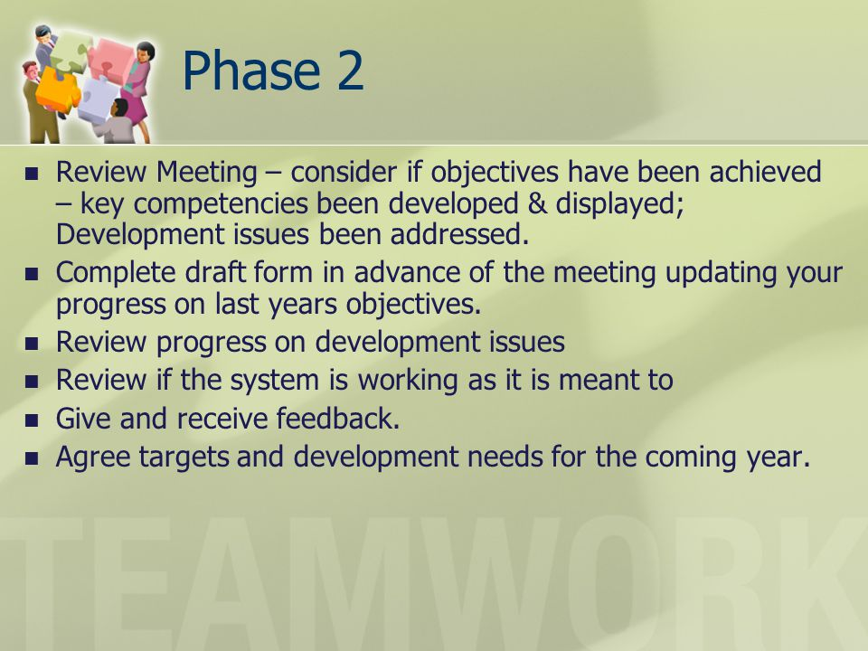 Phase 2 Review Meeting – consider if objectives have been achieved – key competencies been developed & displayed; Development issues been addressed.