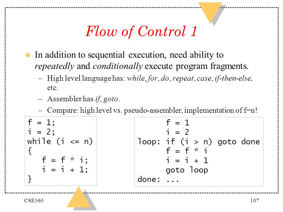 Flow of Control 1 In addition to sequential execution, need ability to repeatedly and conditionally execute program fragments.