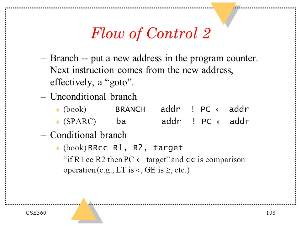 Flow of Control 2 Branch -- put a new address in the program counter. Next instruction comes from the new address, effectively, a goto .
