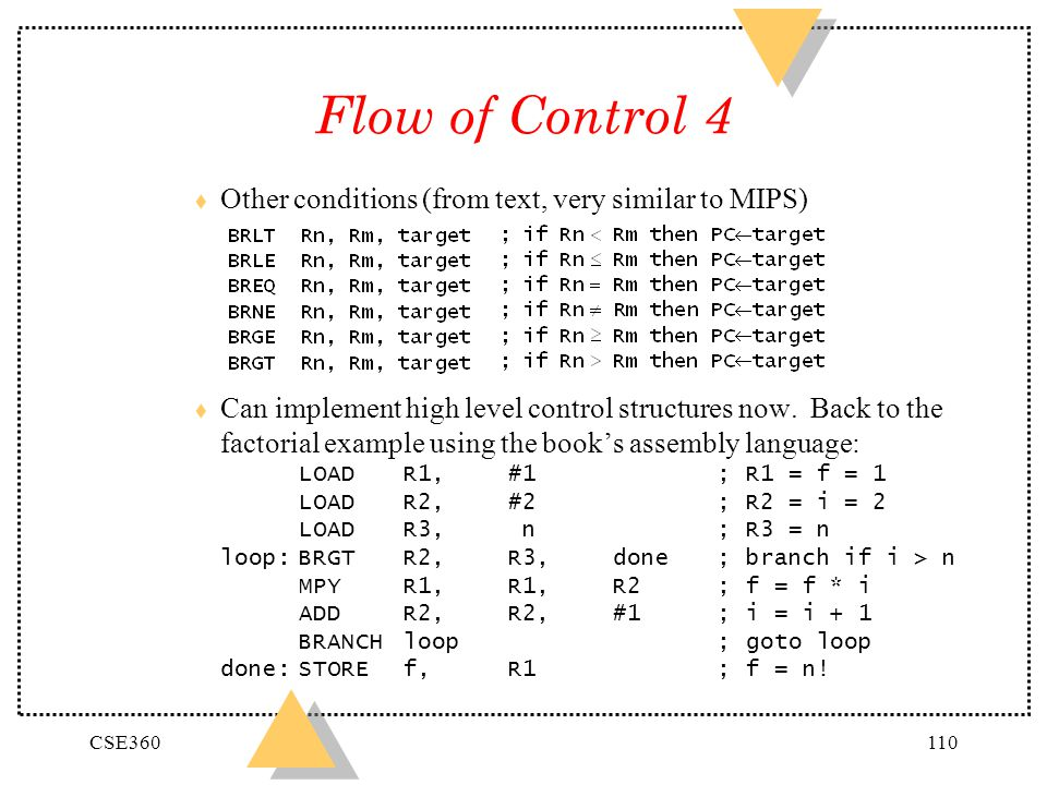 Flow of Control 4 Other conditions (from text, very similar to MIPS)