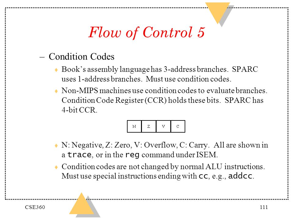 Flow of Control 5 Condition Codes