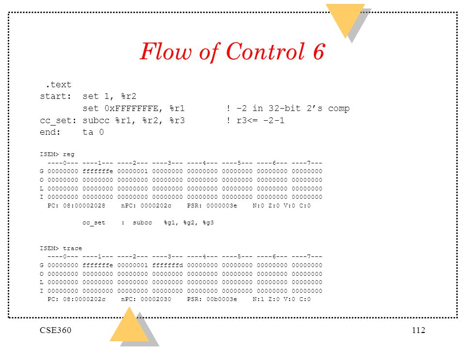 Flow of Control 6 .text start: set 1, %r2