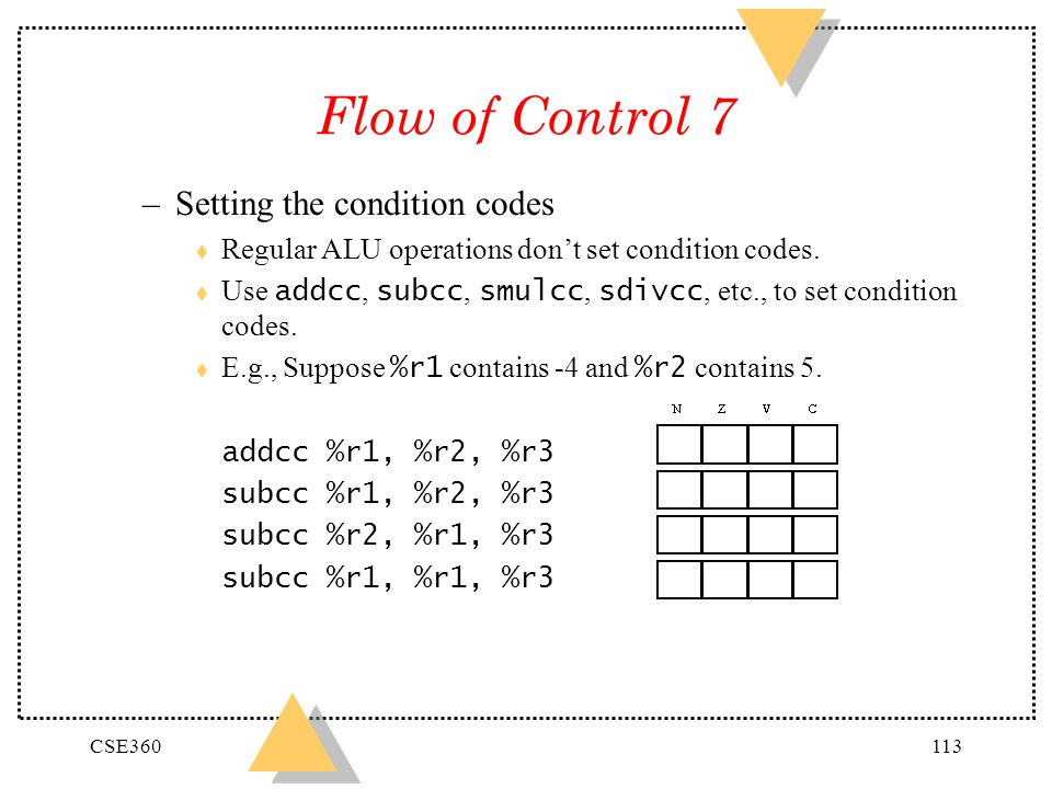 Flow of Control 7 Setting the condition codes