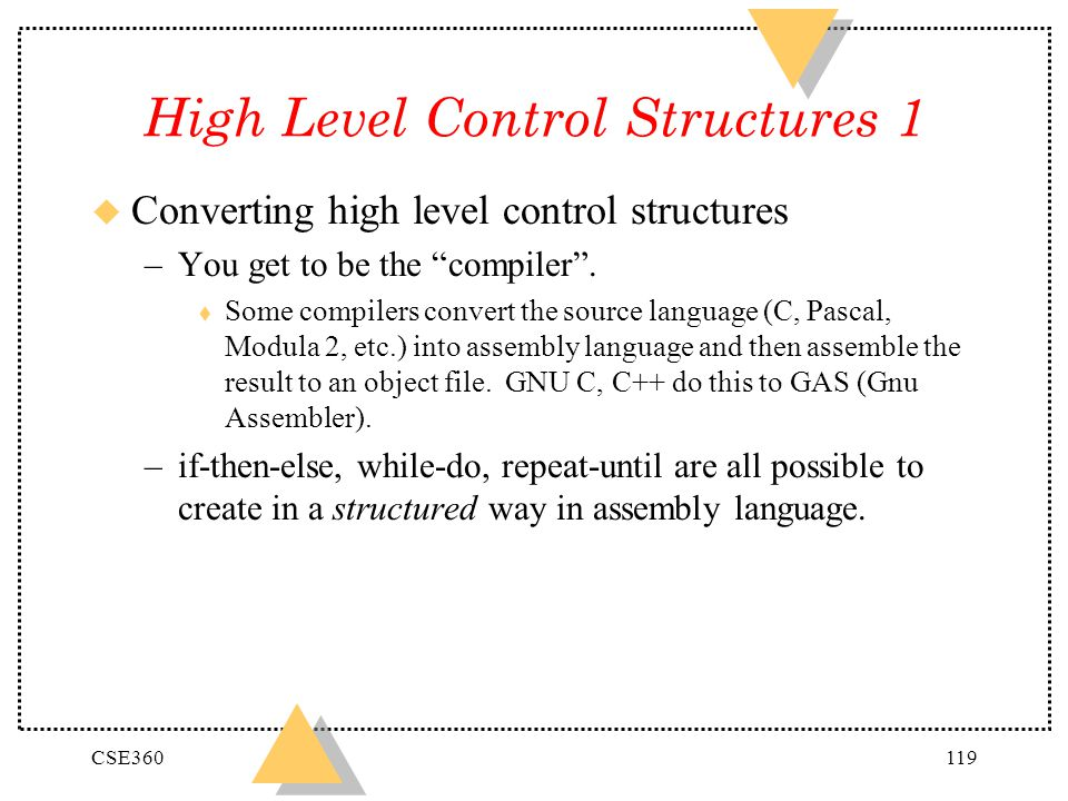 High Level Control Structures 1
