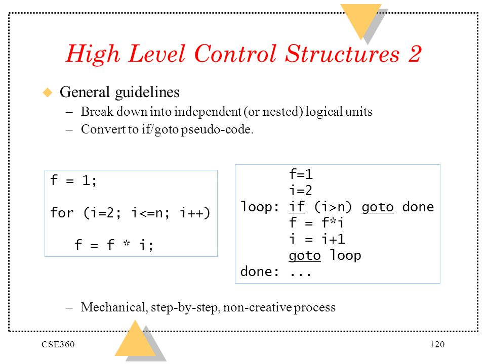 High Level Control Structures 2