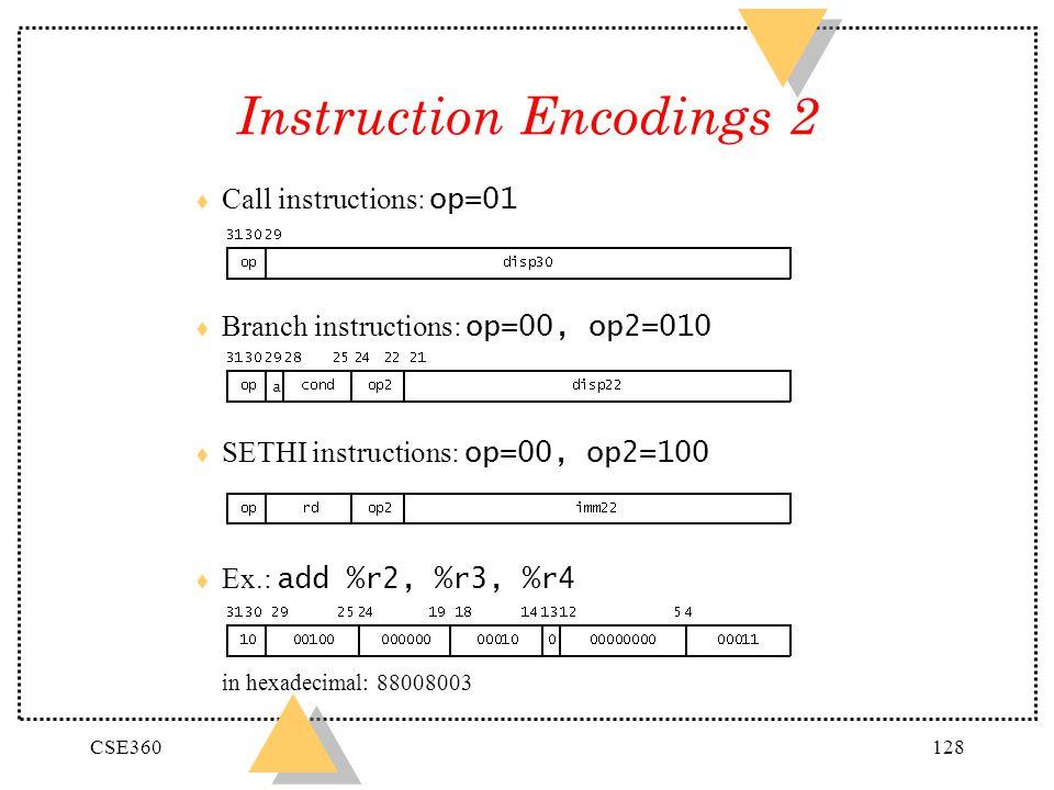Instruction Encodings 2