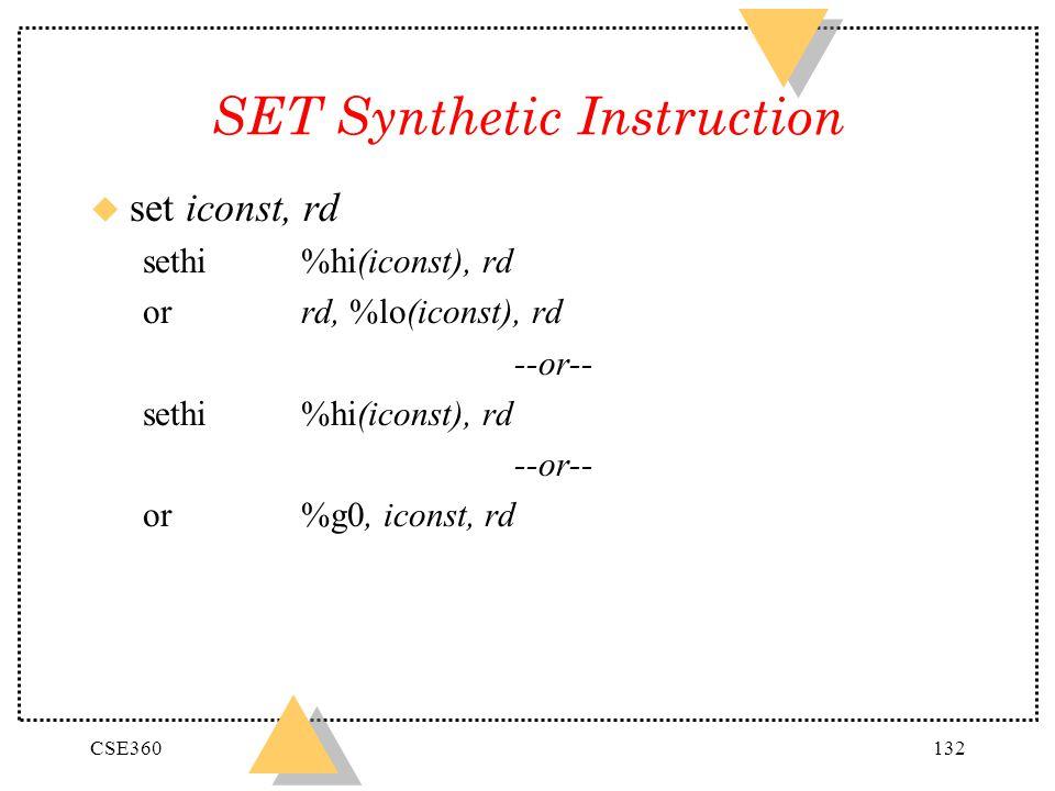 SET Synthetic Instruction