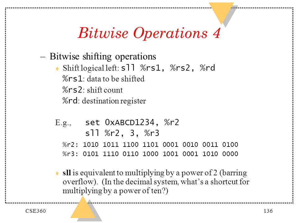 Bitwise Operations 4 Bitwise shifting operations