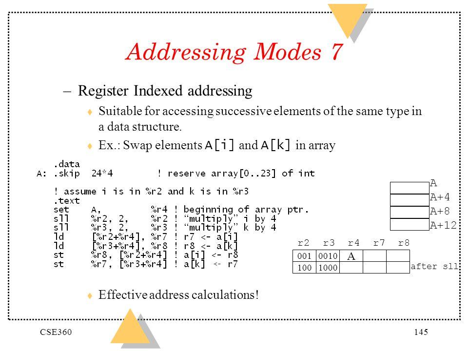 Addressing Modes 7 Register Indexed addressing