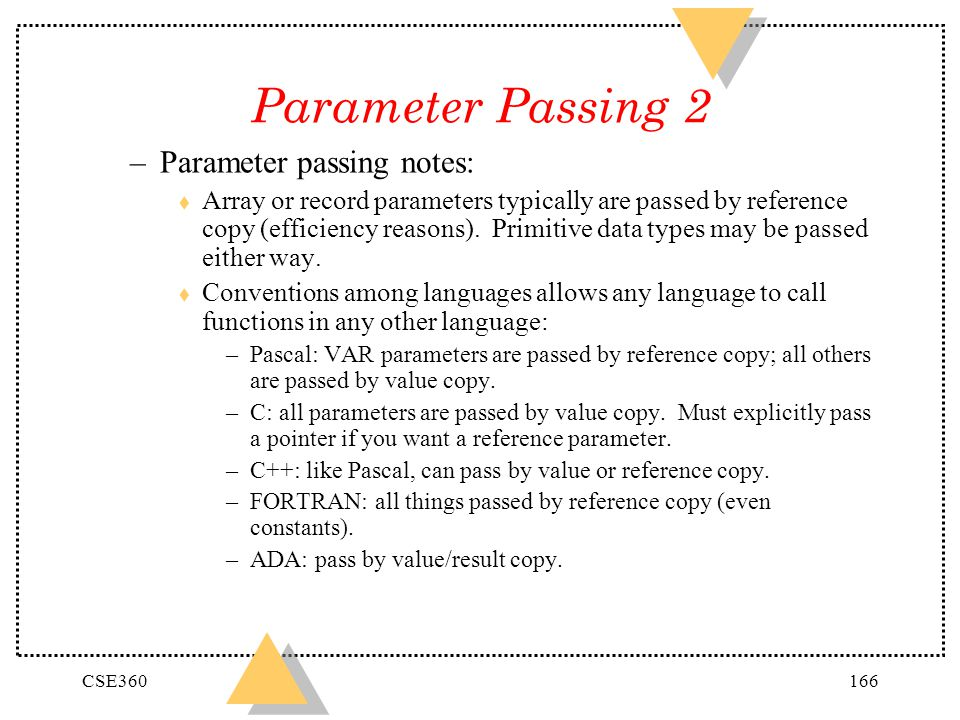 Parameter Passing 2 Parameter passing notes: