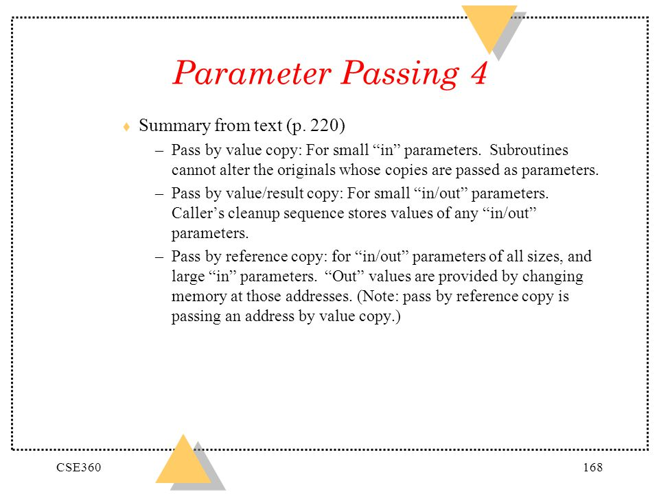 Parameter Passing 4 Summary from text (p. 220)