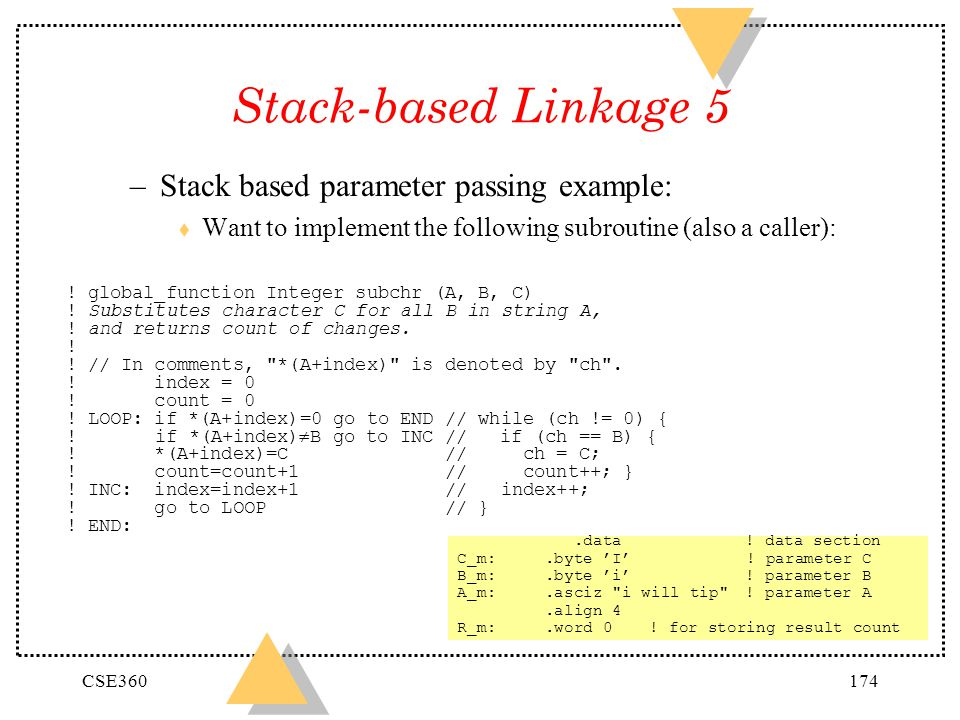 Stack-based Linkage 5 Stack based parameter passing example: