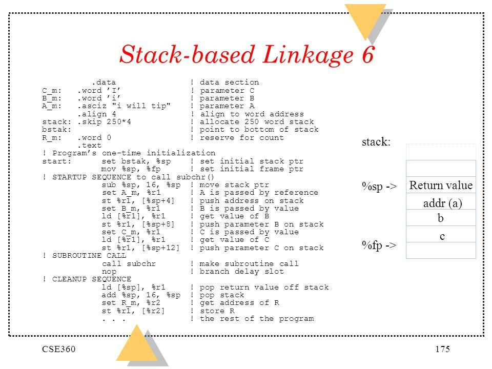 Stack-based Linkage 6 stack: %sp -> Return value %fp -> addr (a)