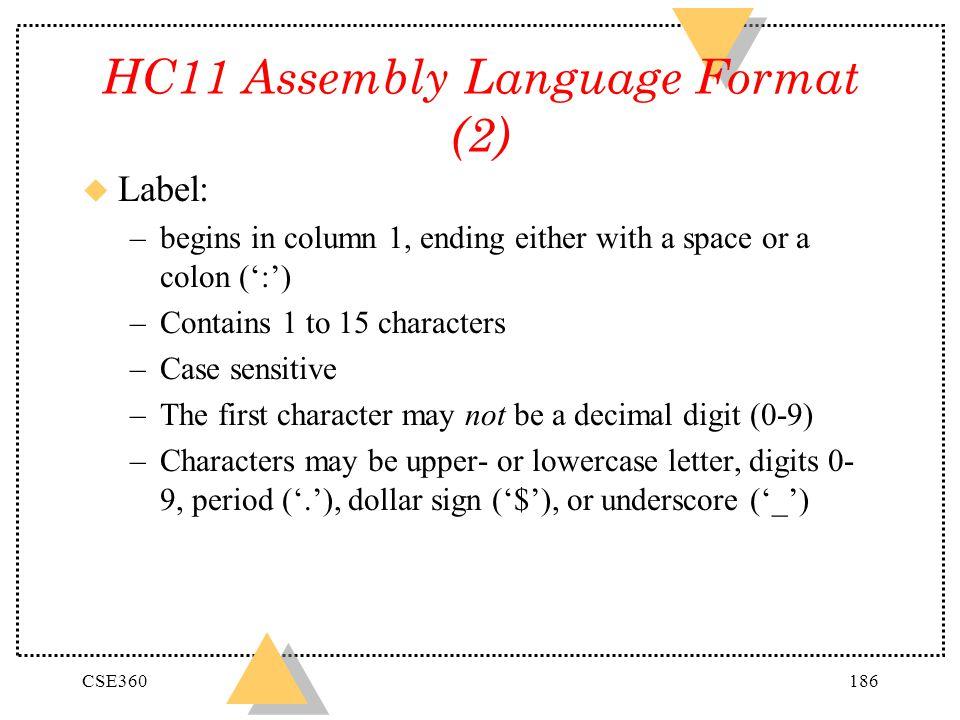 HC11 Assembly Language Format (2)