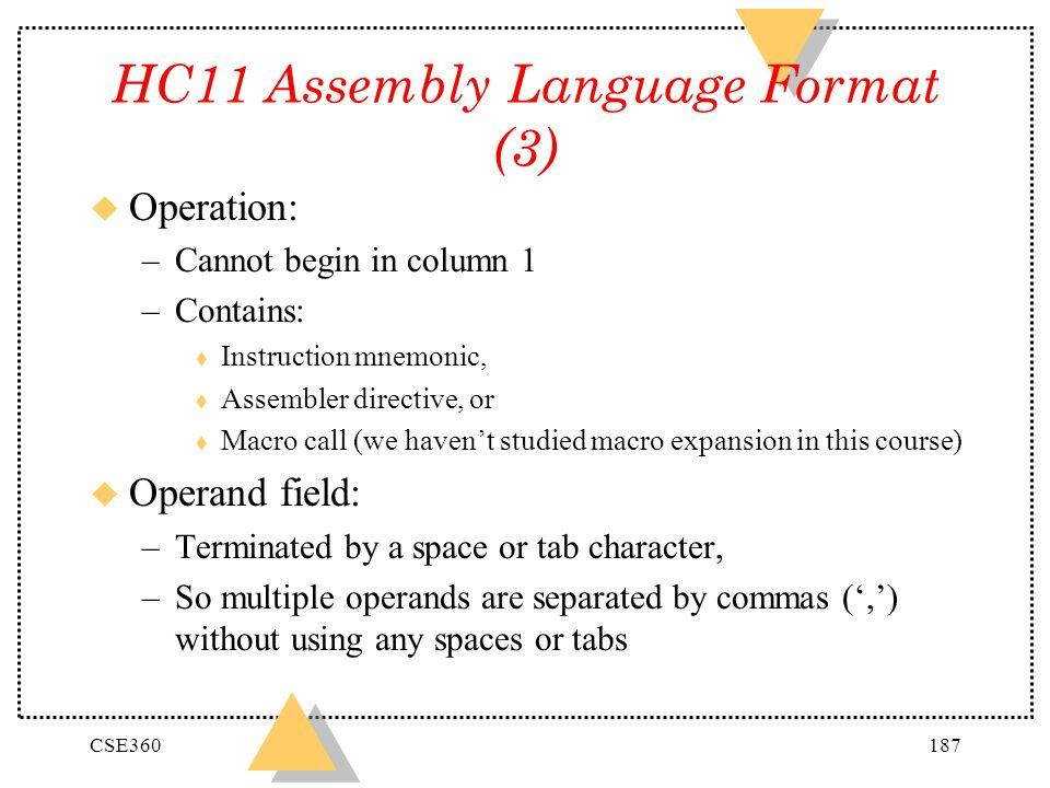 HC11 Assembly Language Format (3)