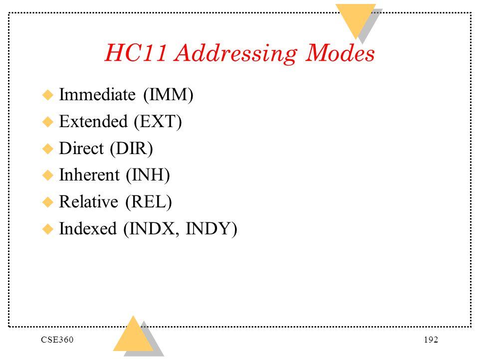 HC11 Addressing Modes Immediate (IMM) Extended (EXT) Direct (DIR)