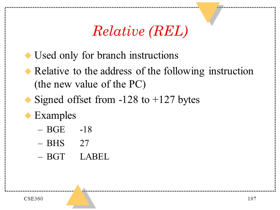 Relative (REL) Used only for branch instructions