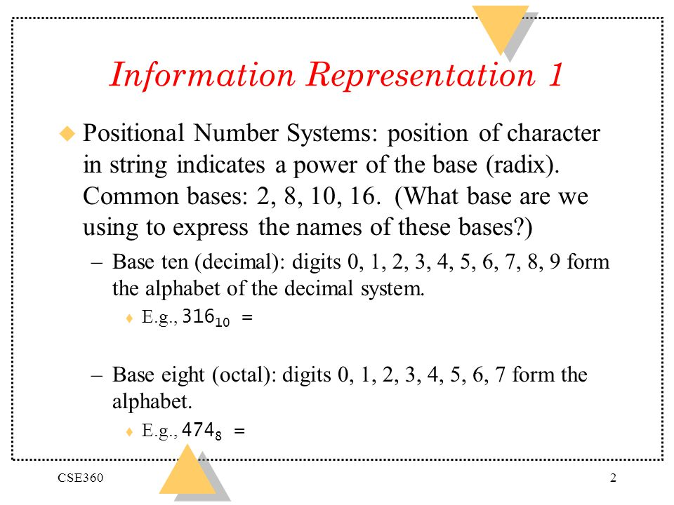 Information Representation 1