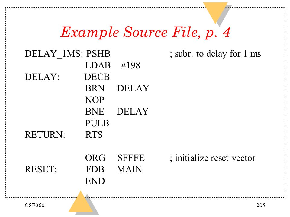 Example Source File, p. 4 DELAY_1MS: PSHB ; subr. to delay for 1 ms