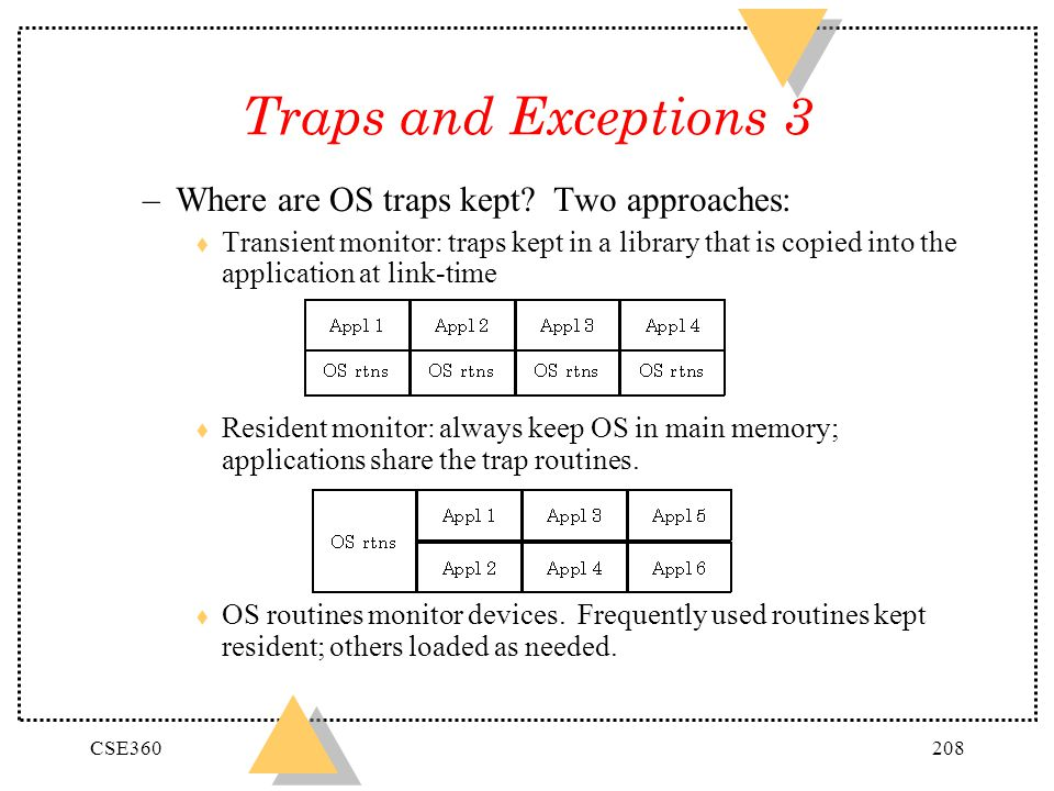 Traps and Exceptions 3 Where are OS traps kept Two approaches: