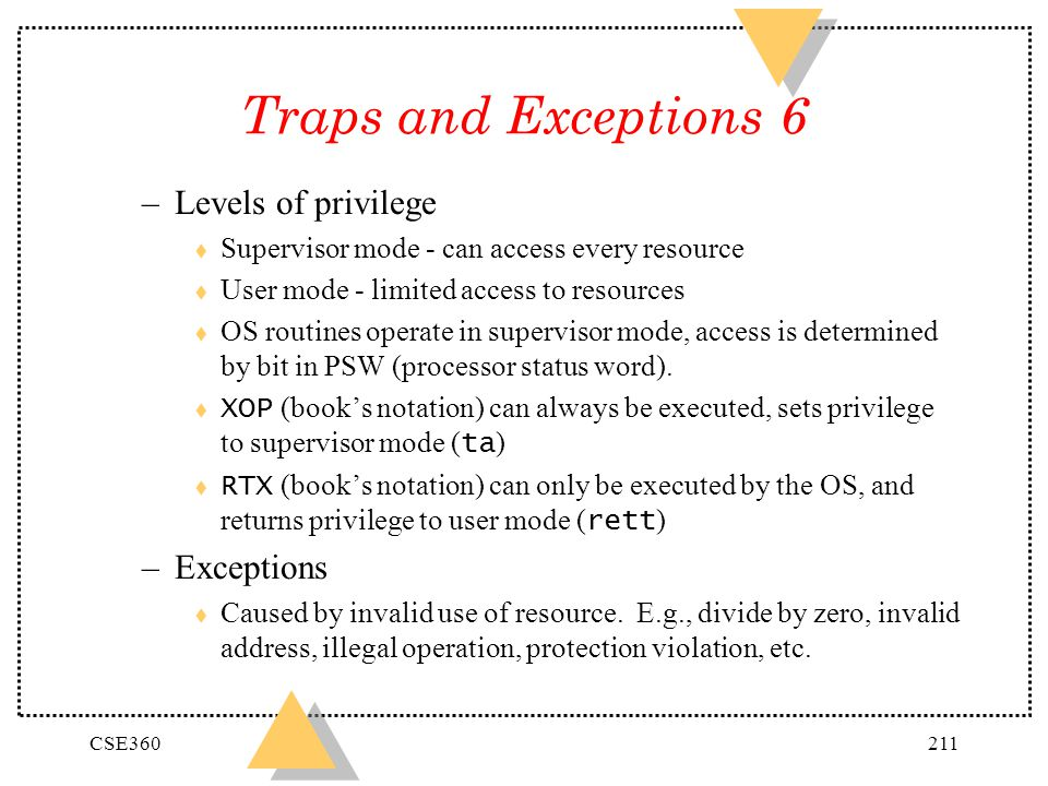 Traps and Exceptions 6 Levels of privilege Exceptions