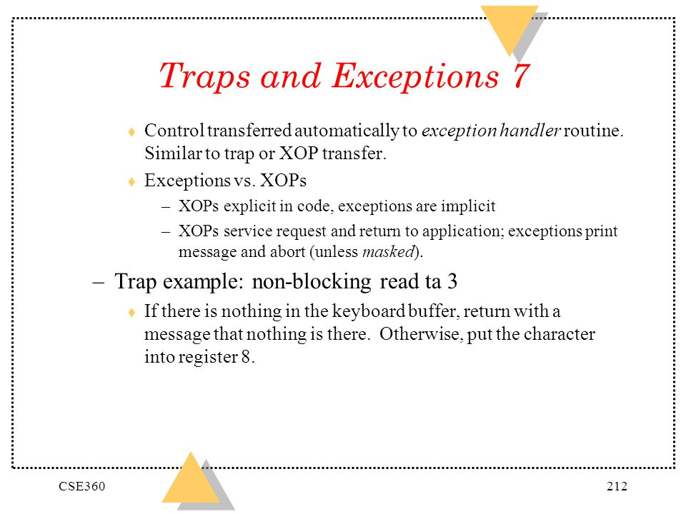 Traps and Exceptions 7 Trap example: non-blocking read ta 3