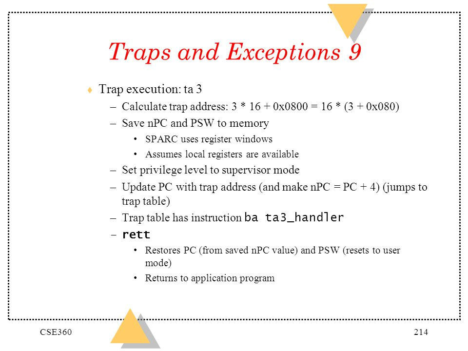 Traps and Exceptions 9 Trap execution: ta 3