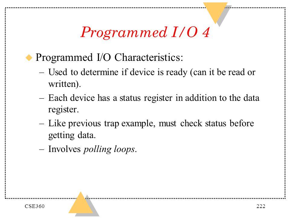 Programmed I/O 4 Programmed I/O Characteristics:
