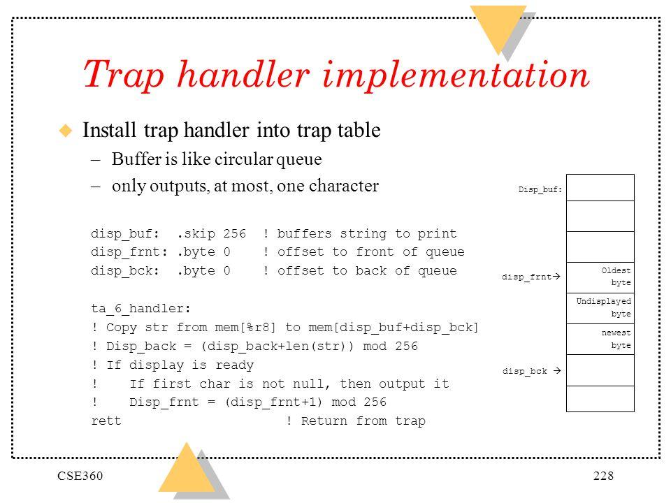 Trap handler implementation
