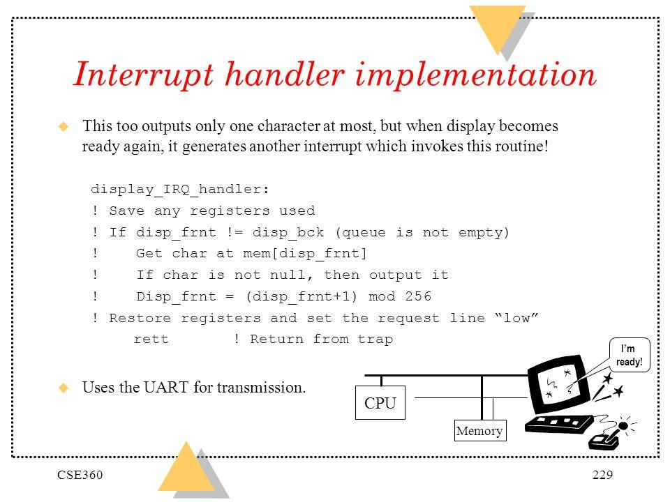 Interrupt handler implementation