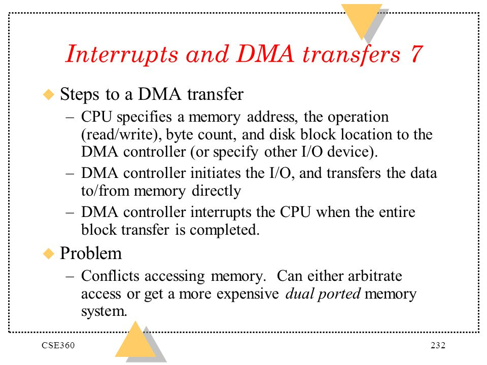 Interrupts and DMA transfers 7