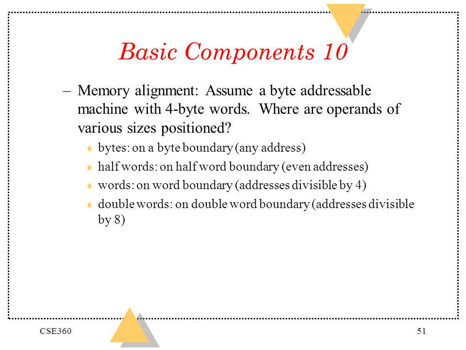 Basic Components 10 Memory alignment: Assume a byte addressable machine with 4-byte words. Where are operands of various sizes positioned