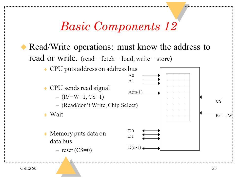 Basic Components 12 Read/Write operations: must know the address to read or write. (read = fetch = load, write = store)