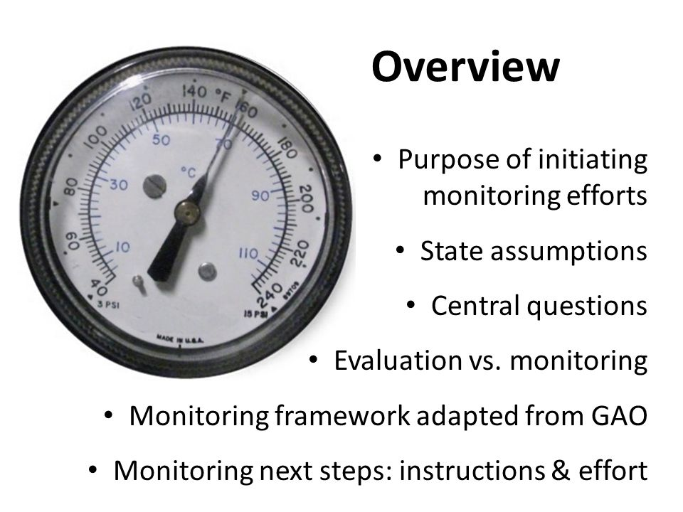 Overview Purpose of initiating monitoring efforts State assumptions