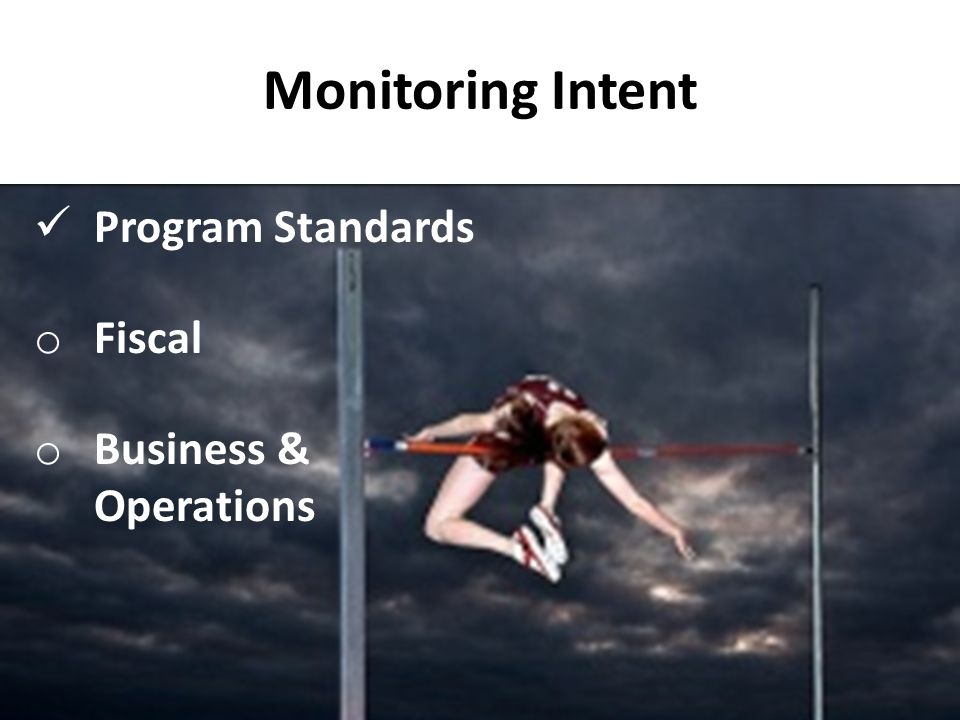 Monitoring Intent Program Standards Fiscal Business & Operations