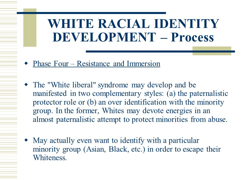 WHITE RACIAL IDENTITY DEVELOPMENT – Process