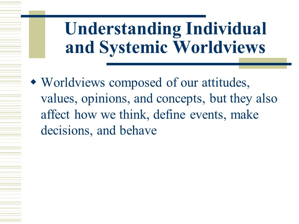 Understanding Individual and Systemic Worldviews