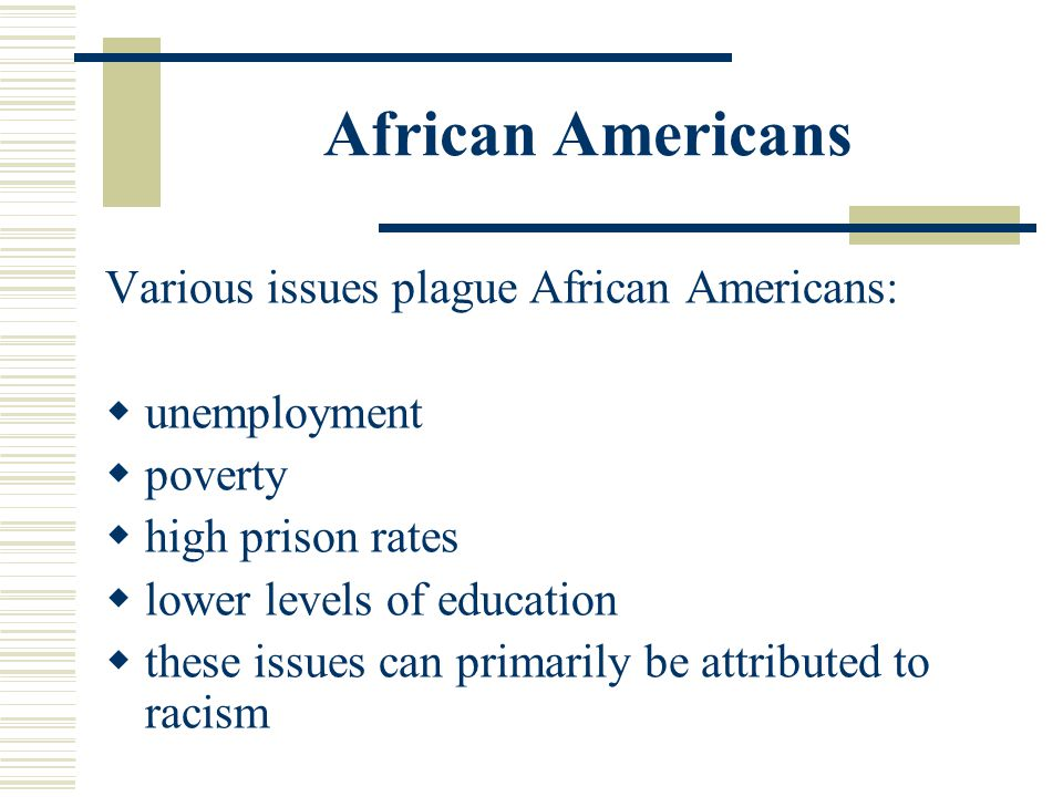 African Americans Various issues plague African Americans: