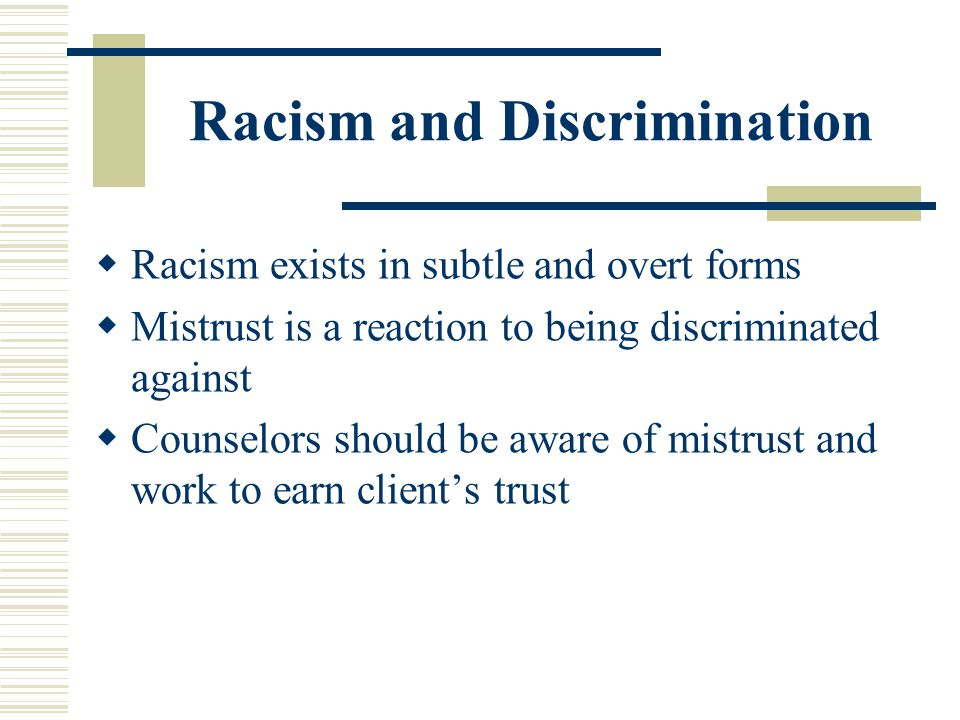 Racism and Discrimination