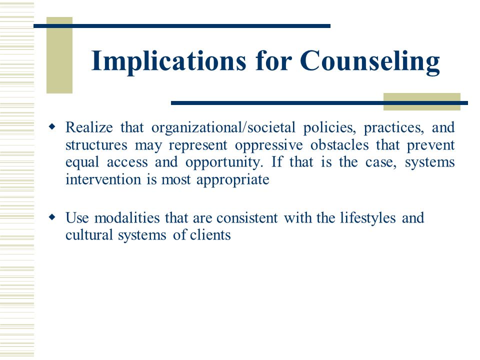 Implications for Counseling